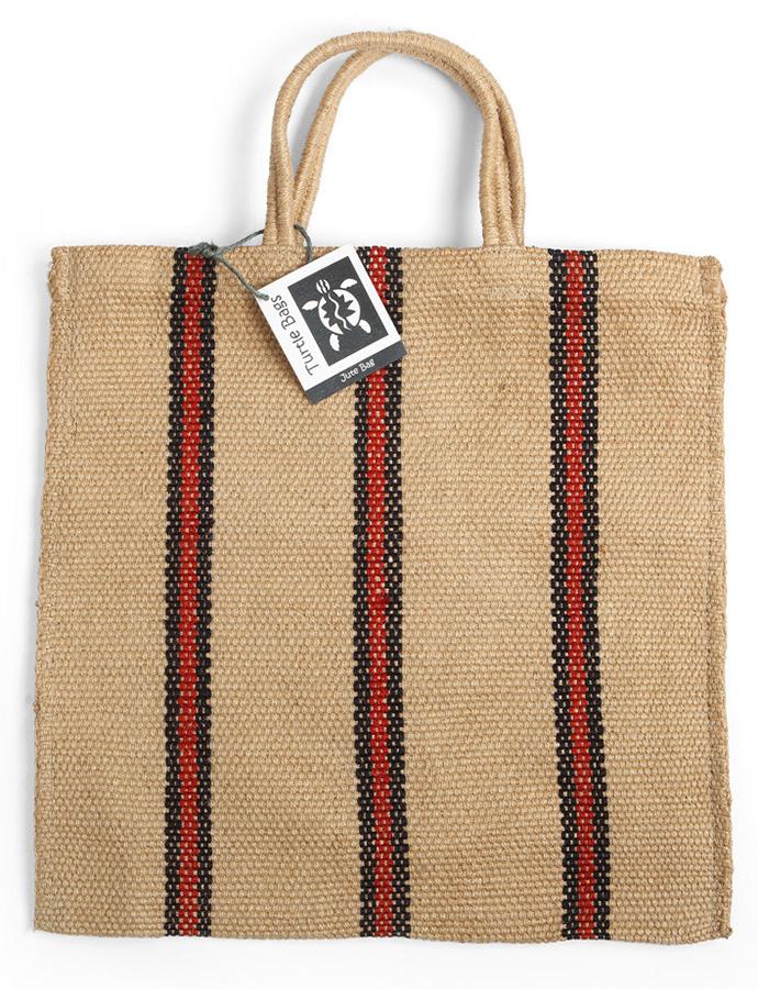 Fair Trade Jute Red and Black Stripey Tote Bag
