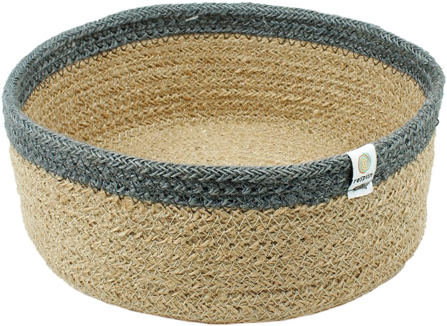 Respiin Natural & Grey Shallow Jute Basket - Medium