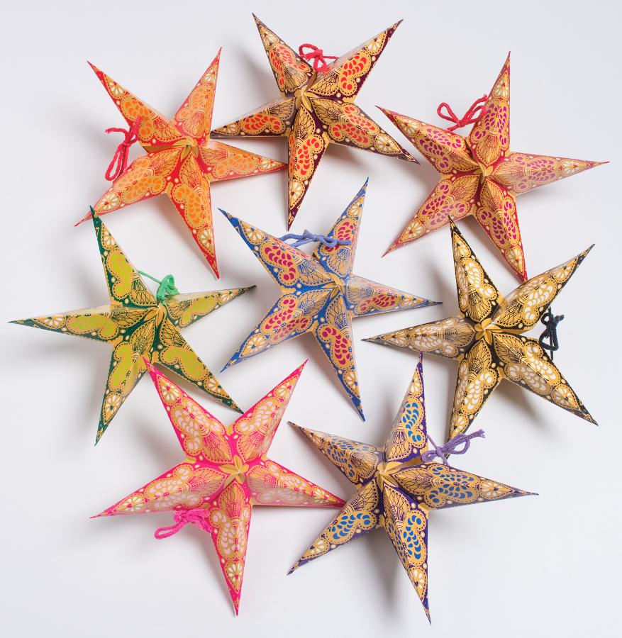 Handmade Paper Stars Paisley Print - Pack of 8
