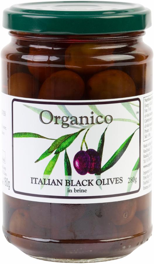 Organico Italian Black Olives in Brine & Herbs - 280g