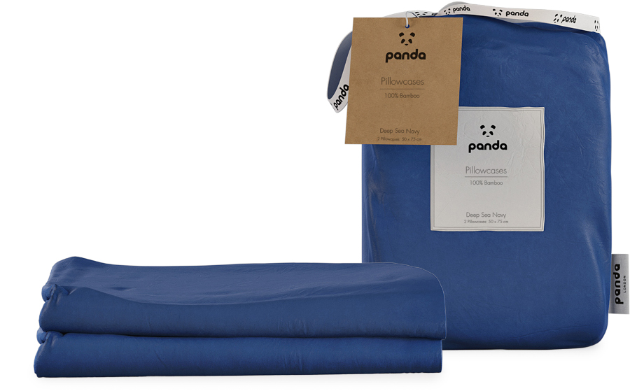 Panda Deep Sea Navy Bamboo Pillowcases - Pack of 2