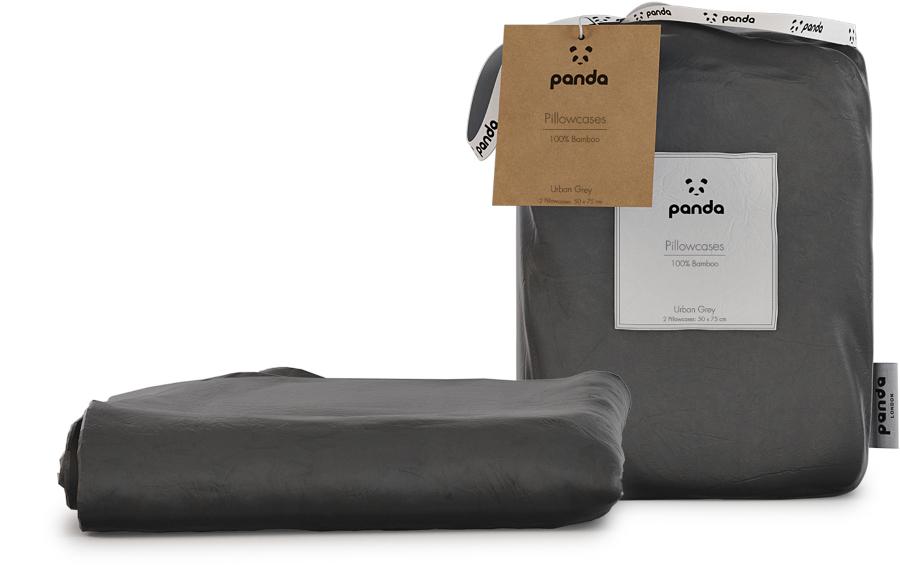 Panda Urban Grey Bamboo Pillowcases - Pack of 2