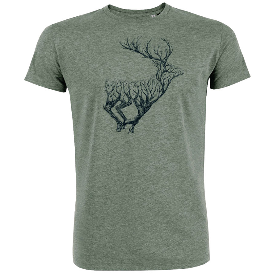 Green Bomb Deer Timber T-Shirt - Khaki