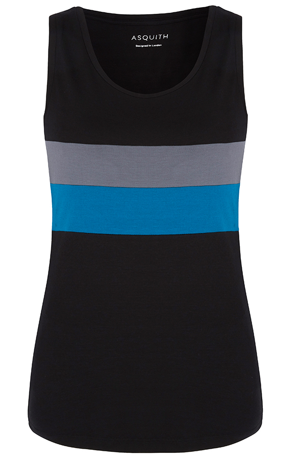 Asquith Bamboo Go To Vest - Black Deep Grey & Teal