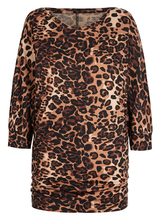 Asquith Bamboo Be Grace Batwing Top - Leopard Print