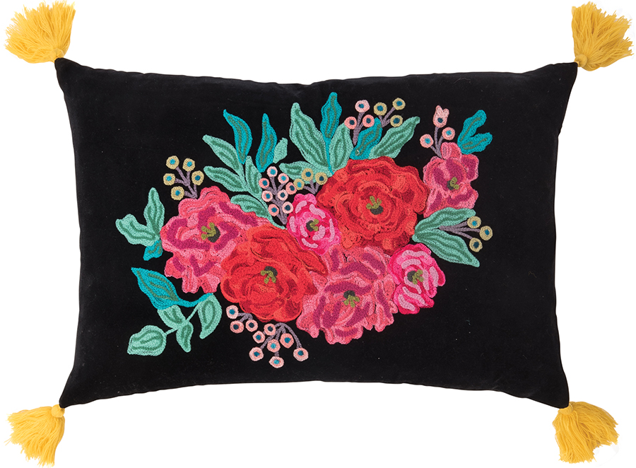 Ian Snow Embroidered Roses Cushion Cover