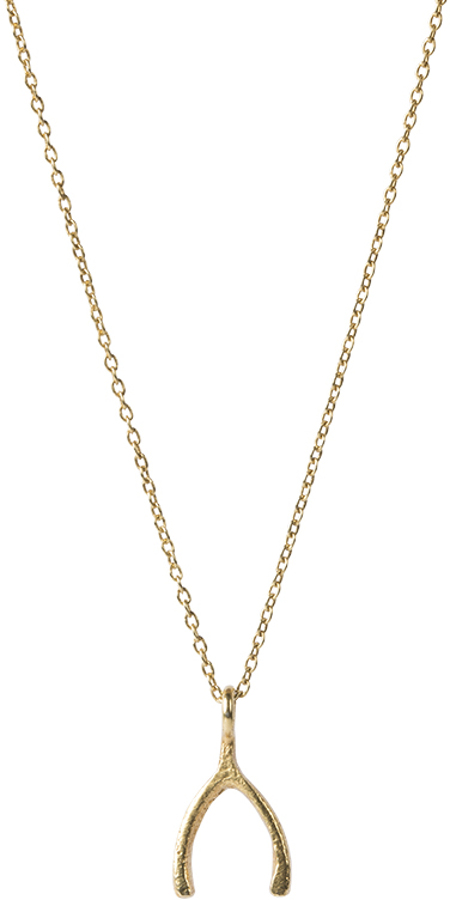 A Beautiful Story Delicate Wishbone Silver Gold-Plated Necklace