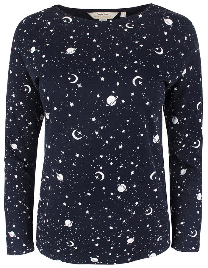 People Tree Galaxy Print Long Sleeve Pyjama T-Shirt
