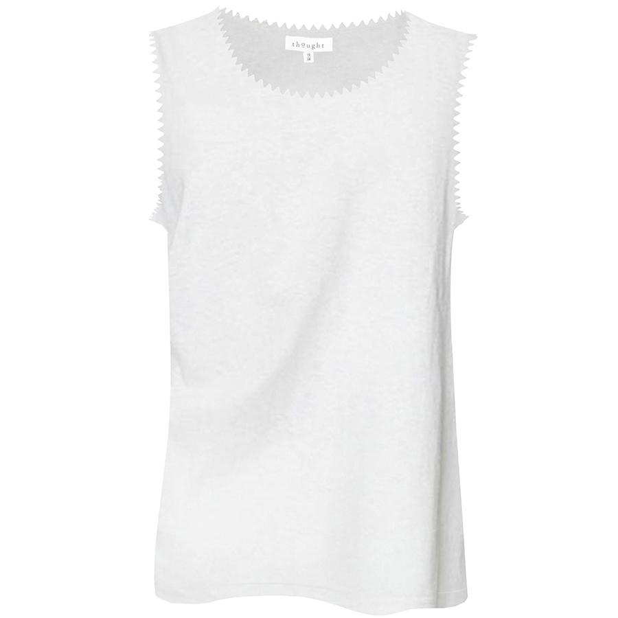 Thought Betta White Hemp Vest Top