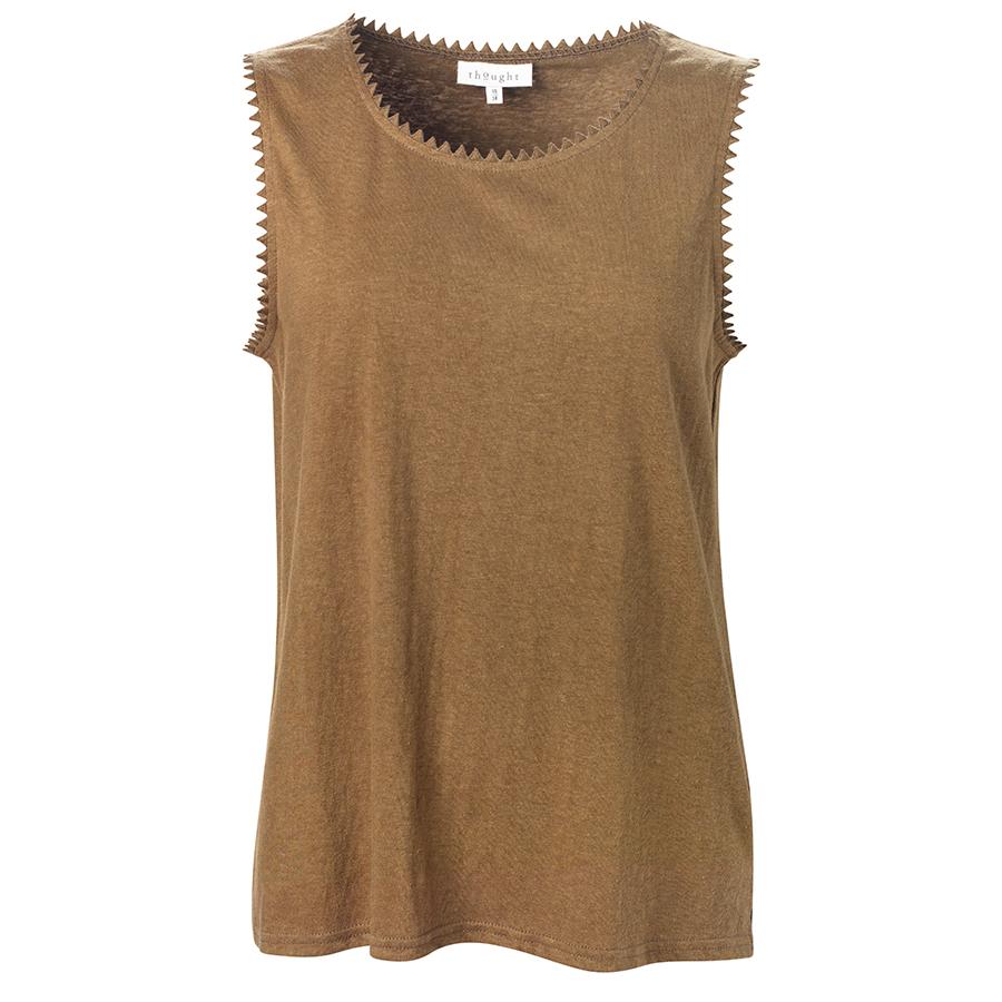 Thought Betta Desert Brown Hemp Vest Top