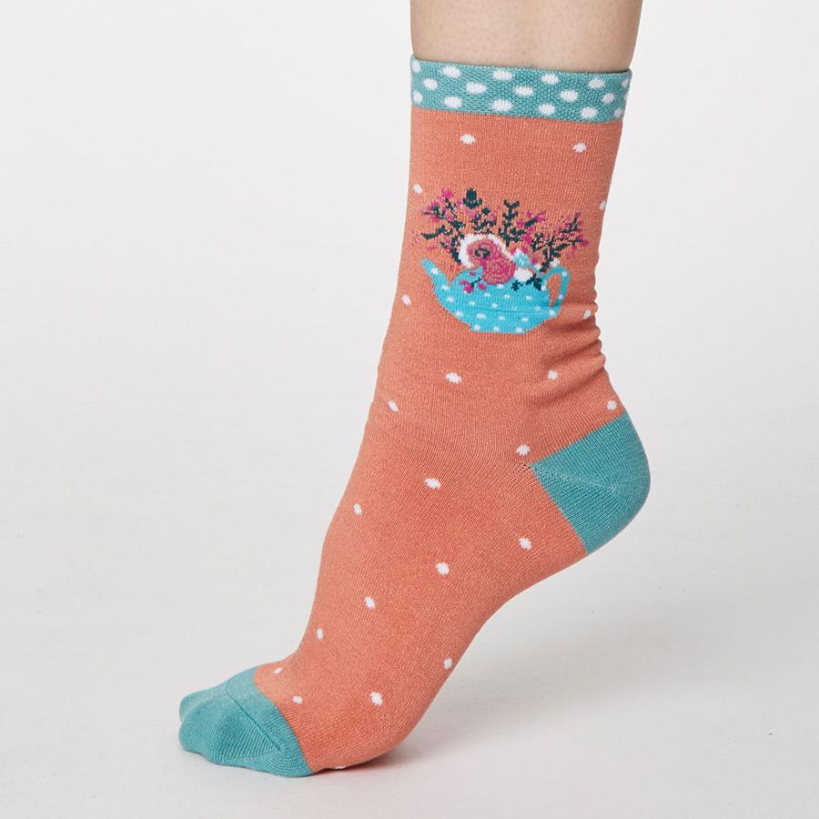 Thought Apricot Flora Bamboo Socks - UK4-7
