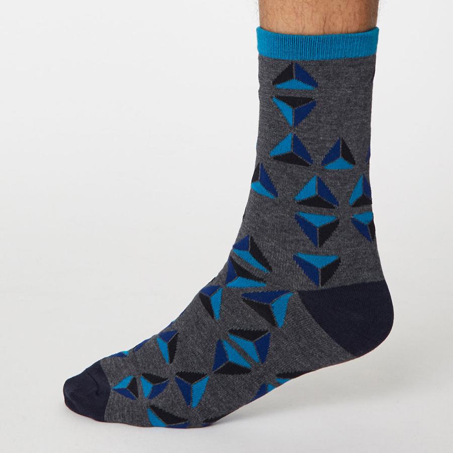 Thought Dark Grey Marle Geometrico Bamboo Socks - UK7-11