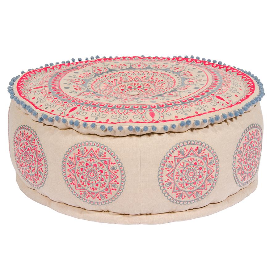 Mandala Design Embroidered Cotton Pouffe