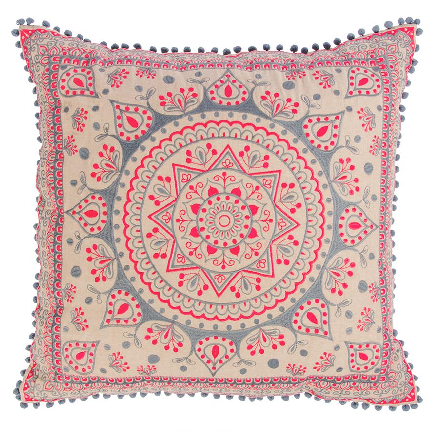 Mandala Large Cushion Cover With Pom Poms