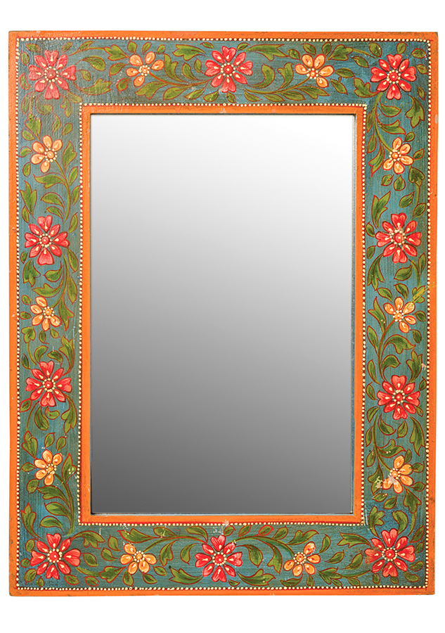 Hand Painted Wooden Wall Mirror - 30 x 40cm