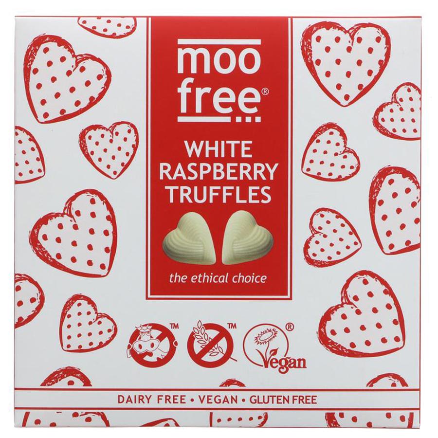 Moo Free Vegan White Chocolate & Raspberry Truffles - 108g
