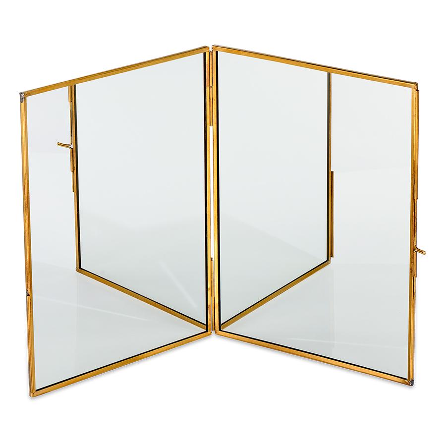 Kiko Antique Brass Folding Mirror - Large