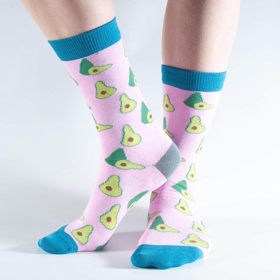 Doris & Dude Pink Avocado Bamboo Socks - UK3-7