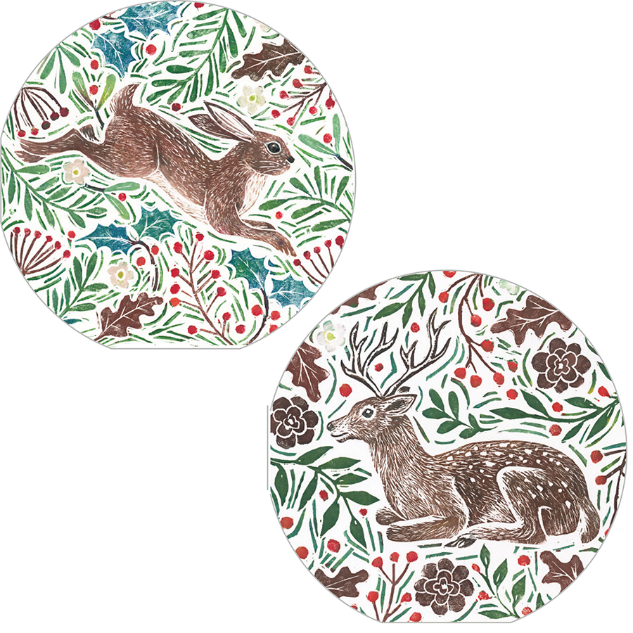 RSPB Foliage & Hare Christmas Cards - Twin Pack of 10
