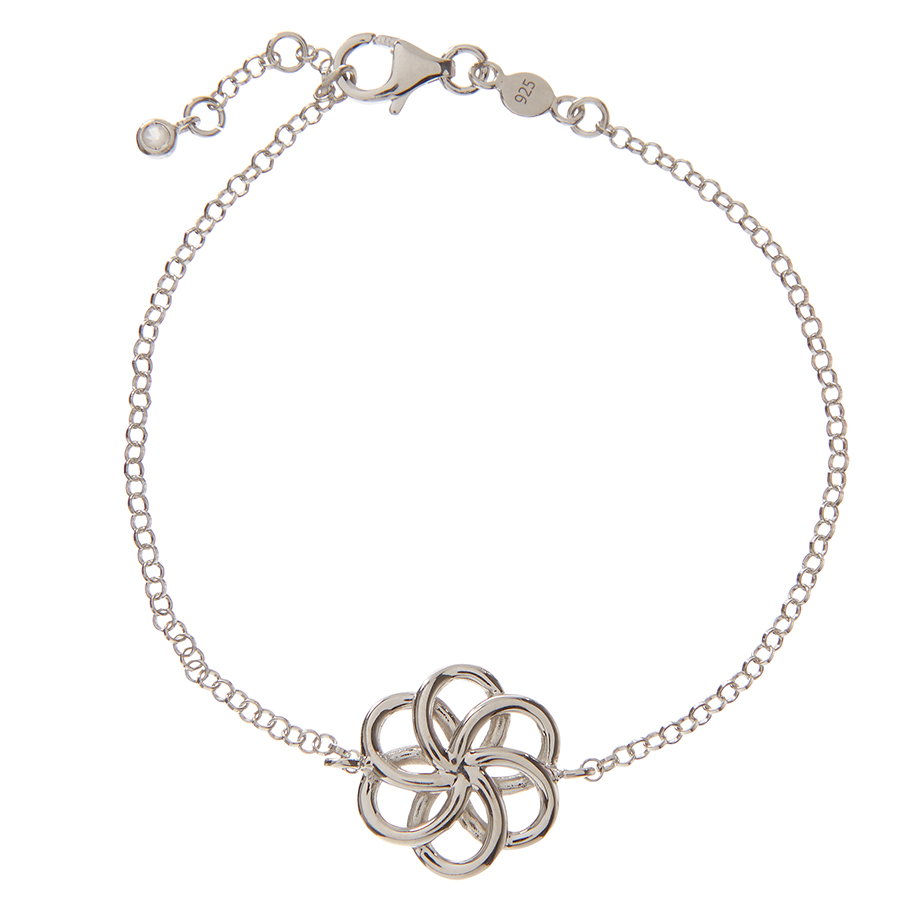 Kashka London Faith Sterling Silver Bracelet with Rose Quartz Drop