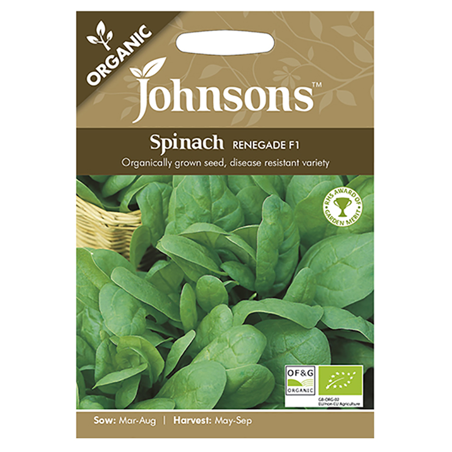Johnsons Organic Spinach Seeds - Renegade F1