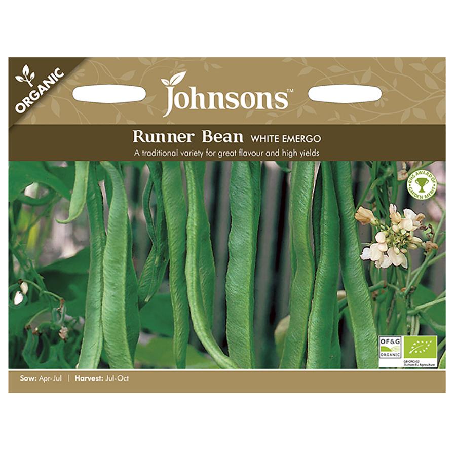 Johnsons Organic Runner Bean Seeds - White Emergo