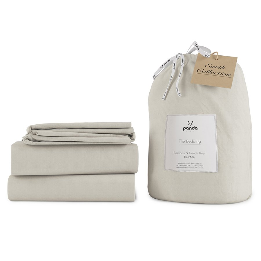 Panda Earth Collection Coconut White Bedding Set - Super King