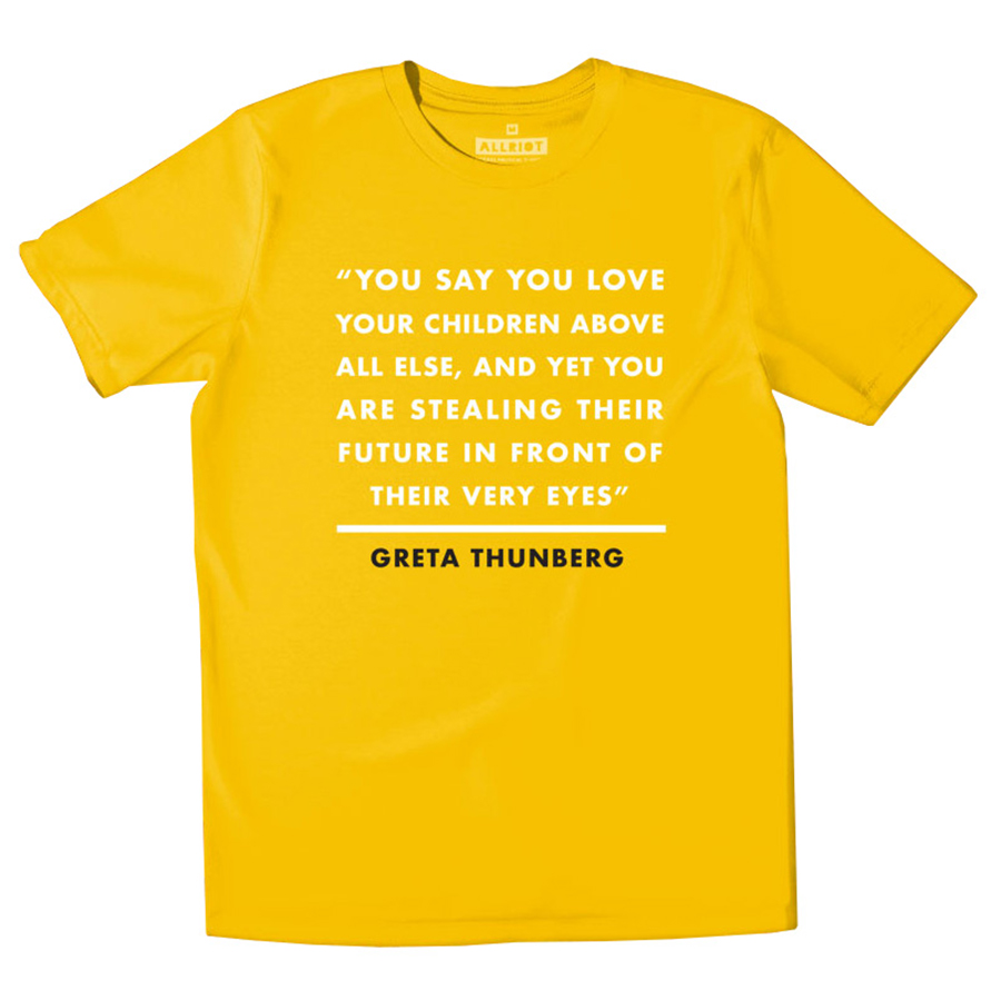 All Riot Greta Thunberg Organic T-Shirt - Yellow