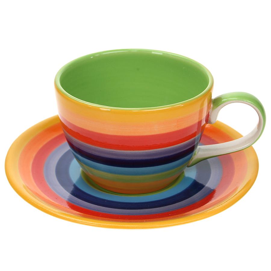 Handpainted Rainbow Cup & Saucer