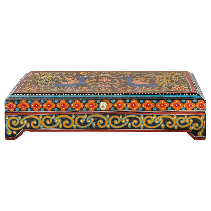 Peacock Painted Wooden Box