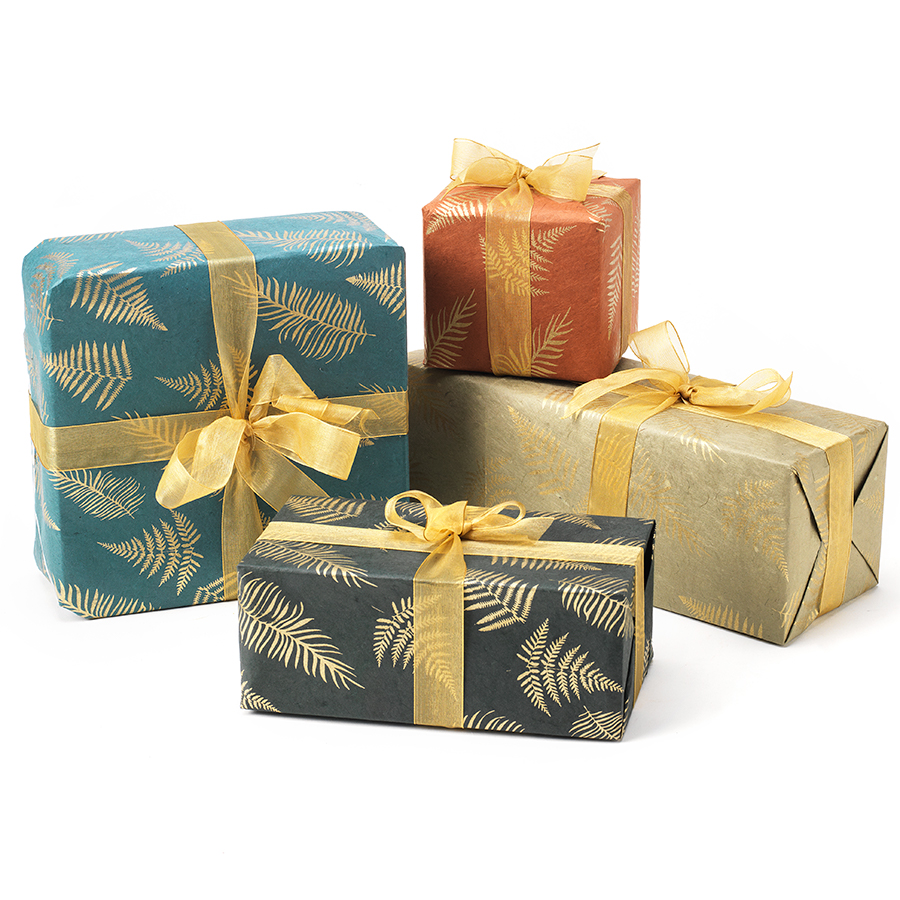 Leaf Print Lokta Paper Gift Wrap - 4 Pack with Tags