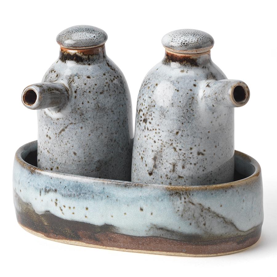 Handmade Ceramic Oil Jug Set - Blue