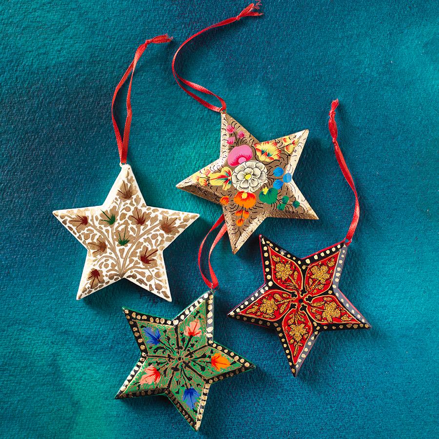 Himalayan Pine Classic Star Decorations - Set of 4