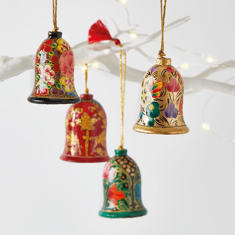 Papier Mache Classic Bell Decoration Set of 4
