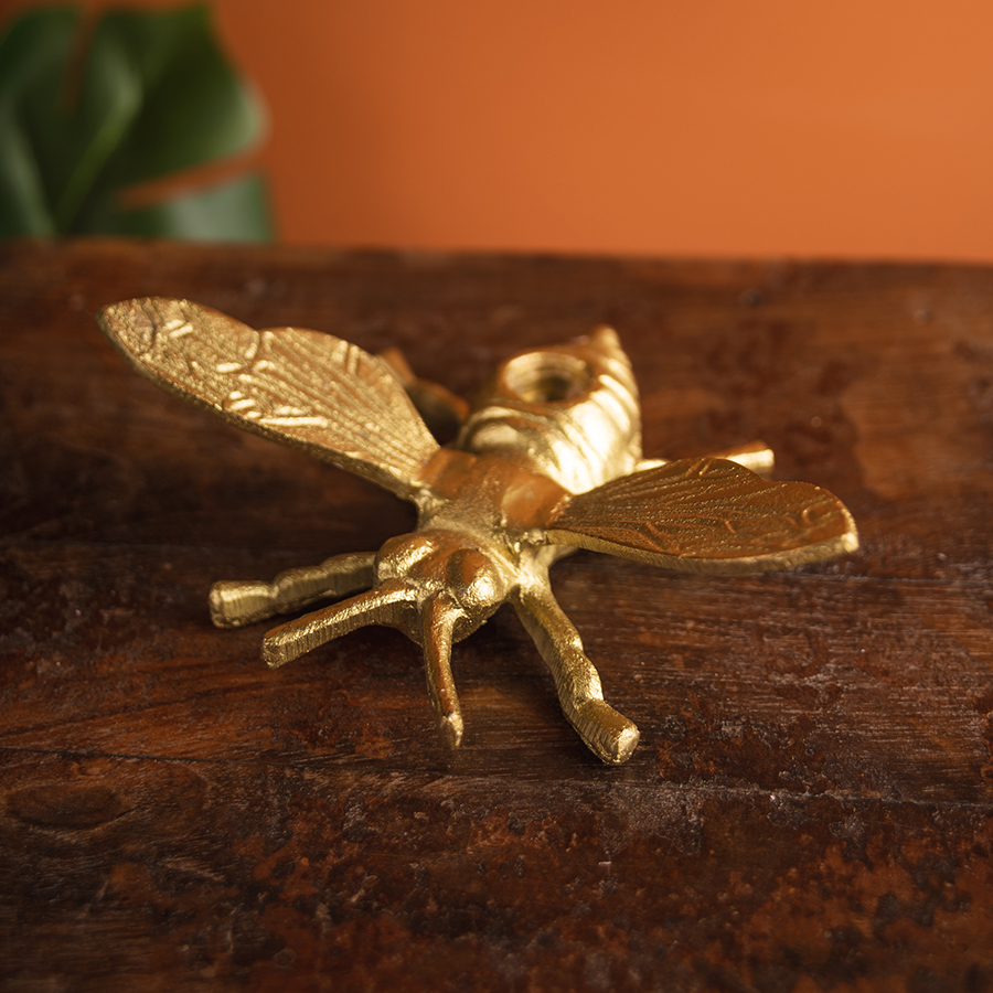 Ian Snow Gold Finish Bee Candle Holder