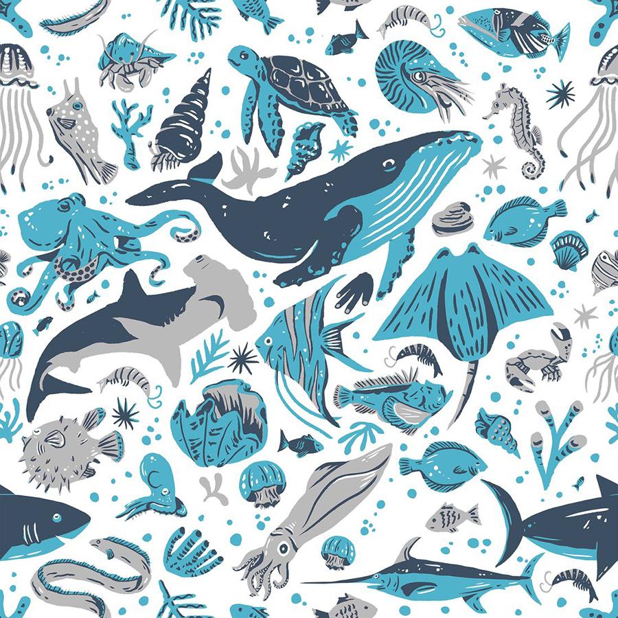 Maemara Ocean Friends Fabric by the Meter - Blue
