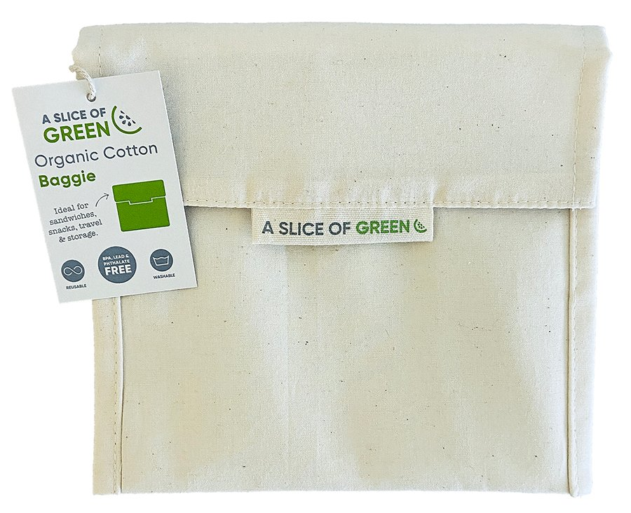 A Slice of Green Large Organic Cotton Food Baggie - Natural