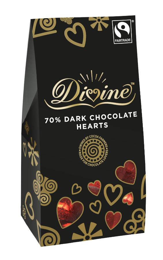 Divine Dark Chocolate Hearts 100g.