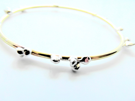 LA Jewellery Fairtrade Fairmined Silver And Brass Pebble Bangle
