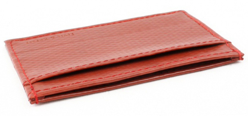 Elvis & Kresse Reclaimed Firehose Single Card Holder - Red