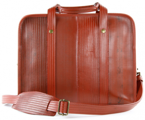 Elvis & Kresse Reclaimed Firehose Compact Brief Case - Red