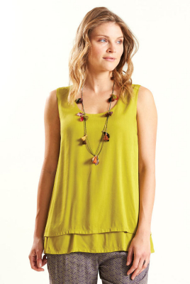 Nomads Double Layered Sleeveless Top - Avocado