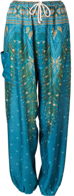 Peacock Feather Print Harem Trousers