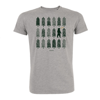 Green Bomb Bear Forest T-Shirt - Grey