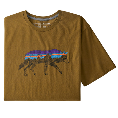 Patagonia Back for Good Wolf Organic T-Shirt - Mulch Brown