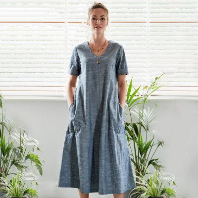 Nomads Chambray Blue Midi Dress