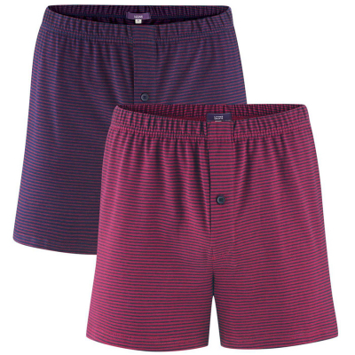 Organic Cotton Ben Boxer Shorts - Dark Navy & Ruby - Pack of 2