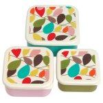 Set of 3 Vintage Ivy Patterned Square Snack Boxes