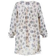 Peacock Dip Hem Shirt-Ivory