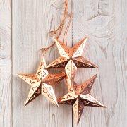 Copper Star Decorations - set of 3